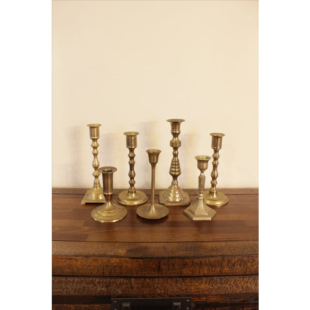 Image of Eclectic Vintage Brass Candle Holders - Set of 7