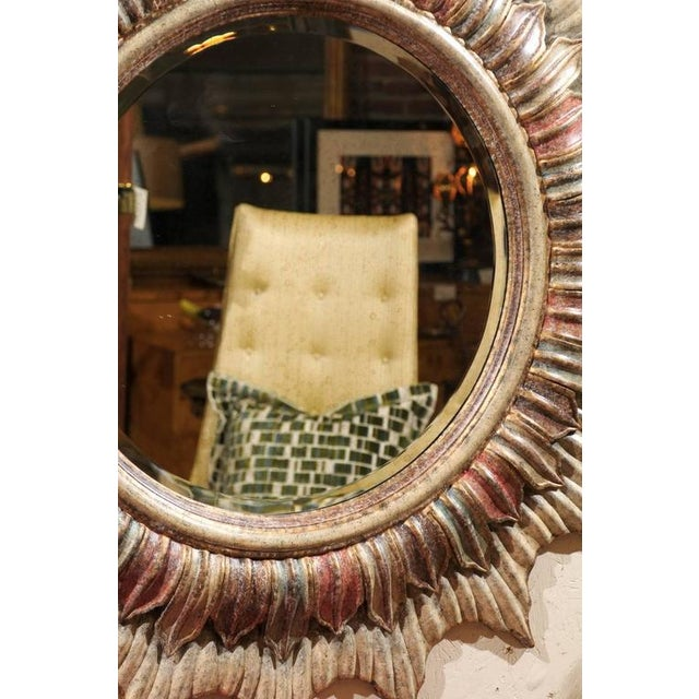 Large Polychrome Sunburst Mirror - Image 5 of 5
