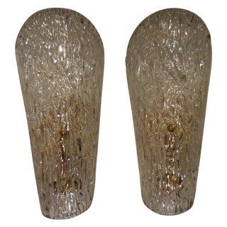 Vintage Textured Glass Sconces - Pair