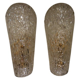 Vintage Textured Glass Sconces - Pair