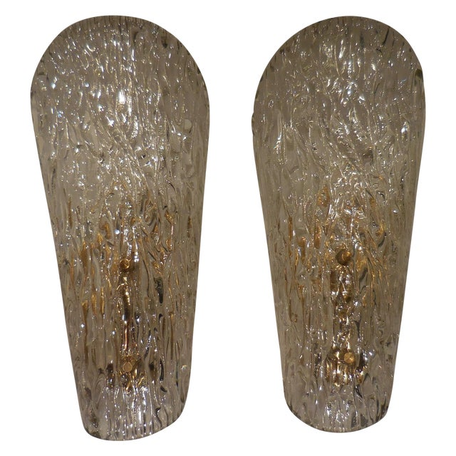 Image of Vintage Textured Glass Sconces - Pair