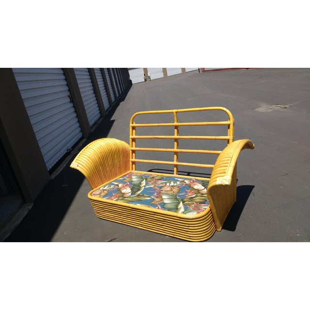 Art Deco Rattan Fan Arm 2 Seat Sofa - Image 6 of 8