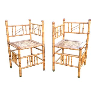 Vintage Bamboo Corner Triangle Chairs - A Pair