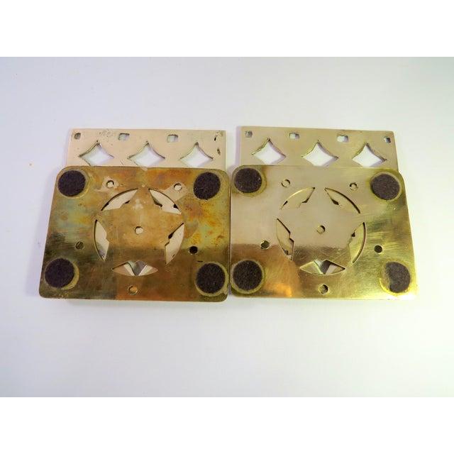 Vintage Art Deco Geometric Brass Shelf Bookends - Image 3 of 4