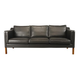 Vintage Danish Black Leather 3-Seat Sofa