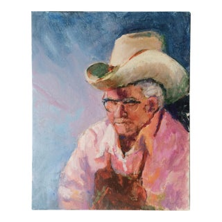 """Old Cowboy"" Portrait Oil Painting"