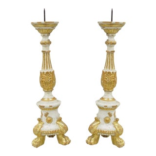 Antique Italian Neoclassical Carved Gilt Wood Gold Candlestick Prickets - a Pair