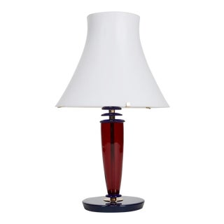 Mid-Century Italian All Glass Red and Blue Table Lamp