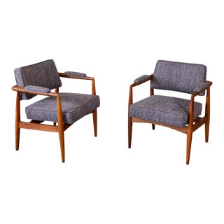 Robsjohn-Gibbings Style Walnut Armchairs - A Pair