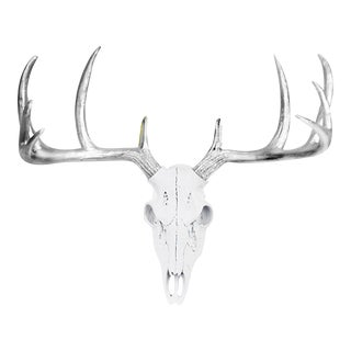 Wall Charmers White & Silver Faux Taxidermy Mini Deer Skull Wall Mount