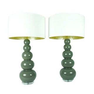 Grey Ceramic Lamps with Linen Shades - Pair