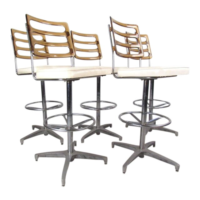 Mid-Century Lucite and Vinyl Bar Stools by Chrome Craft - Image 1 of 11