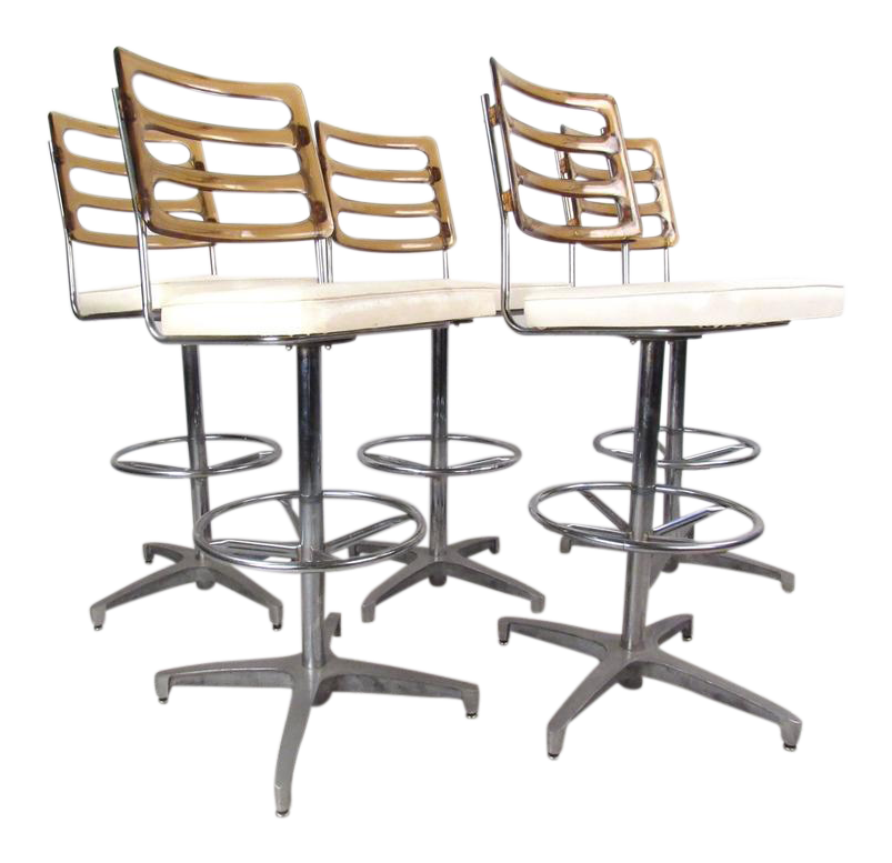 midcentury lucite and vinyl bar stools by chrome craft