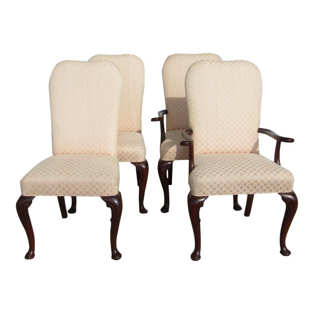 Baker Dining Chairs In Carved Mahogany And Upholstered