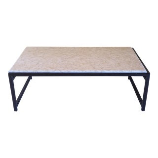 Limestone and Steel Coffee Table