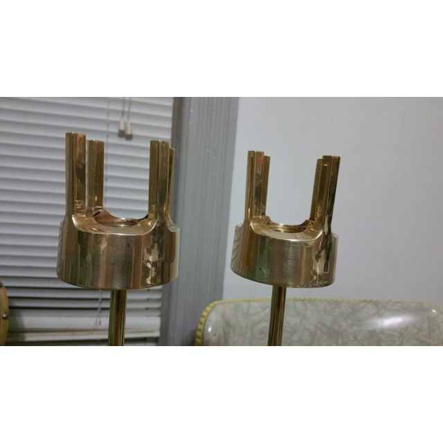 Mid-Century Modern Brass Candlestick Holders - A Pair - Image 5 of 7