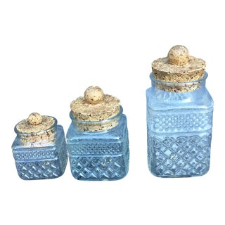 Set of 3 Good Grief Unique Vintage Mid Century Modern Cork & Glass Jars