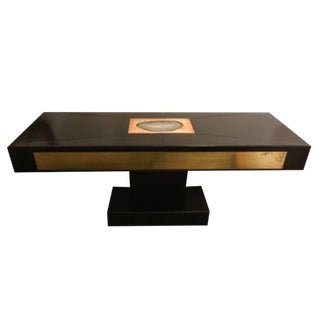 Modernist Console in Leather, Agate and Brass Attributed to Willy Daro
