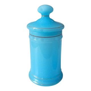 Vintage Italian Blue Opaline Style Glass Lidded Jar