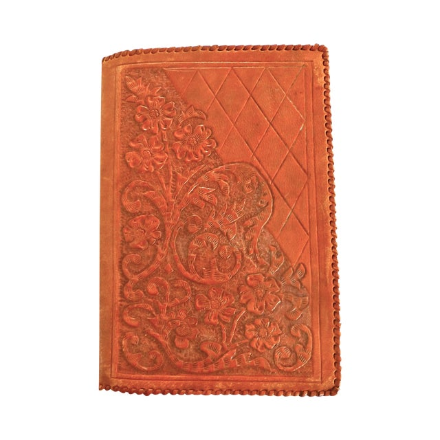 Mid-Century Hand-Crafted Brown Leather Book Cover - Image 1 of 5