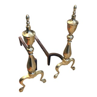 Brass Urn Shaped Andirons - A Pair