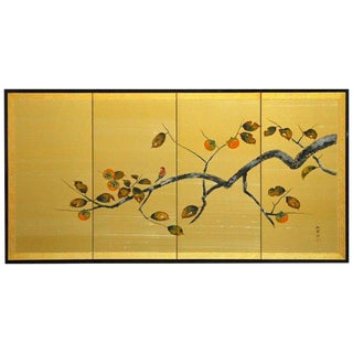 Japanese Four-Panel Persimmon Branch Folding Screen
