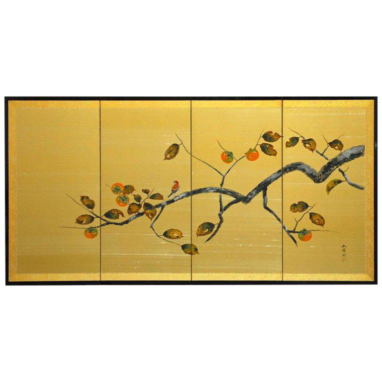 japanese fourpanel persimmon branch folding screen