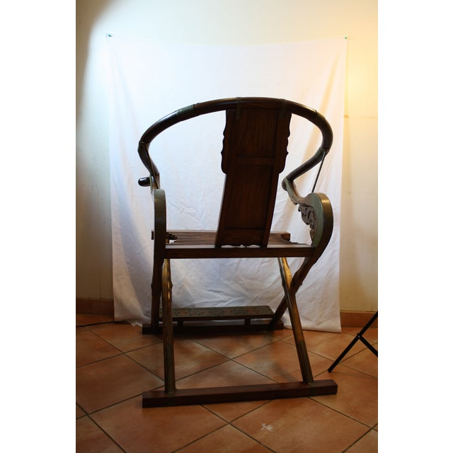 Chinese Carved Rosewood Folding Chairs - A Pair - Image 5 of 11