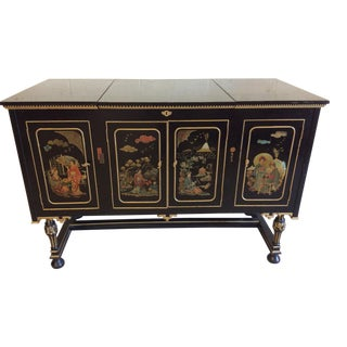 Hand Painted Asian Style Black and Gold Lacquered Console Chest