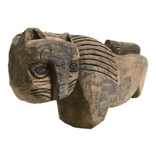 Large Stylized Carved Wood Cat