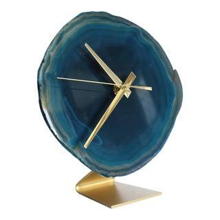 Teal Agate Slice Desk Clock
