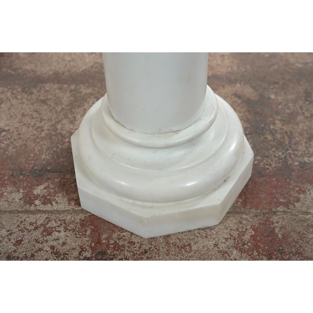 19th C. Italian Carrara Marble Carved Pillar Stand - Image 6 of 10