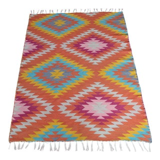 Rainbow Flat Weave Diamond Turkish Wool Kilim Rug - 4' X 6'