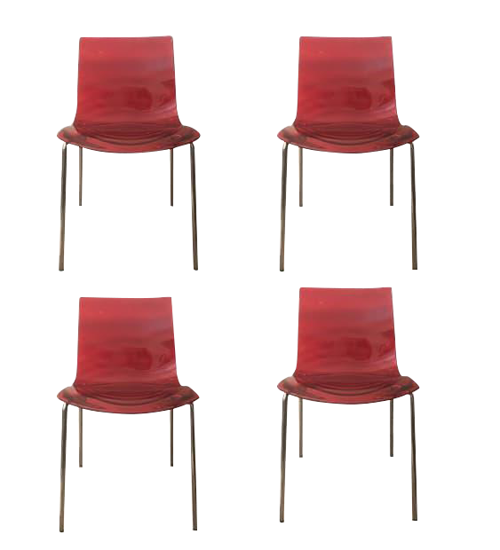 Calligaris Modern Red Leau Lu0027Eau Chairs 1273 Dining Chair Lucite   Set Of 4