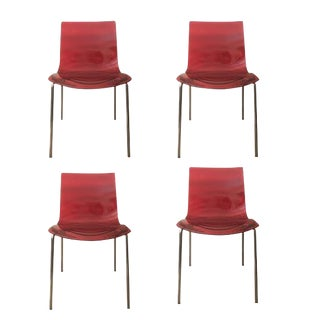 Calligaris Modern Red Leau l'Eau Chairs 1273 Dining Chair Lucite - Set of 4