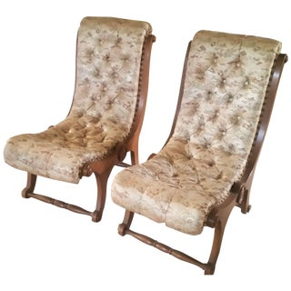 Mid-Century Japanese Obi Silk Chairs - A Pair