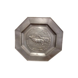 European Pewter Stag Charger