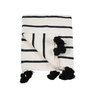 Moroccan White & Black Pom Pom Queen Size Blanket