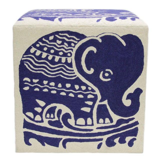 Kashmiri Crewel Ottoman with Indigo Elephant - Image 3 of 3