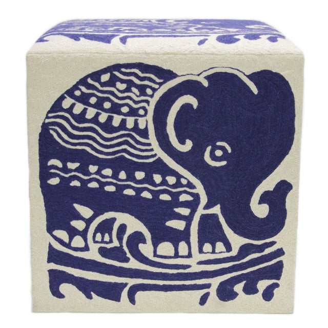 Image of Kashmiri Crewel Ottoman with Indigo Elephant