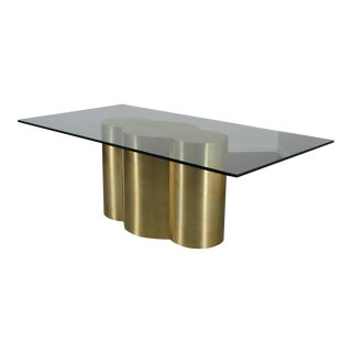 Custom Quatrefoil Dining Table Base in Polished Brass by Refine Studio