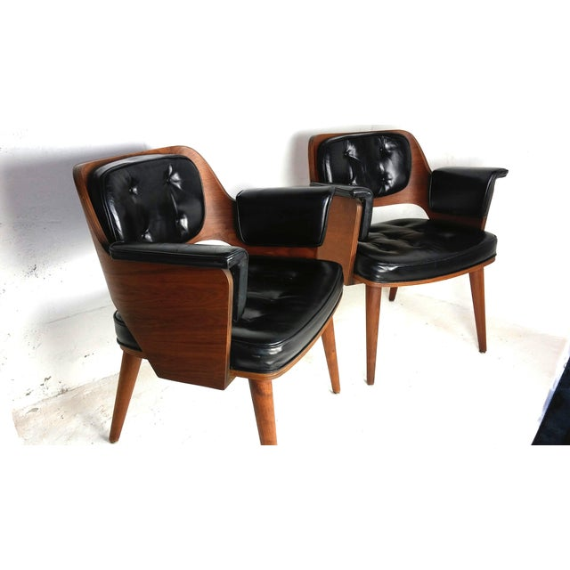 Mid-Century Danish Leather & Walnut Lounge Chairs - A Pair - Image 2 of 10