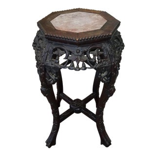 Antique 19th Century Carved Asian Teak Wood Marble Top Tabouret Plant Vase Stand c1890