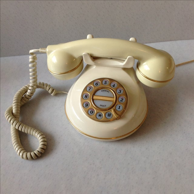 Vintage Cream and Gold Phone - Image 3 of 6