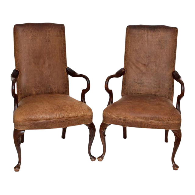 vintage crocodile embossed leather club chairs a pair - Leather Club Chairs