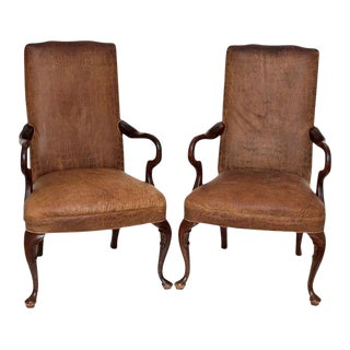 Vintage Crocodile Embossed Leather Club Chairs - A Pair