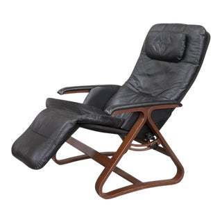 Contemporary Black Leather and Wood Reclining Armchair with Headrest