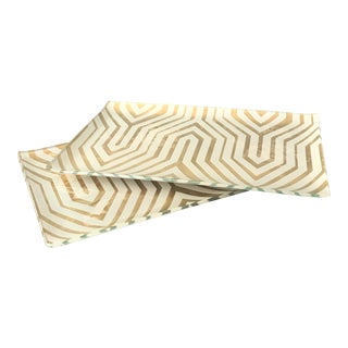 Gold and White Geometric Glass Trays - Pair