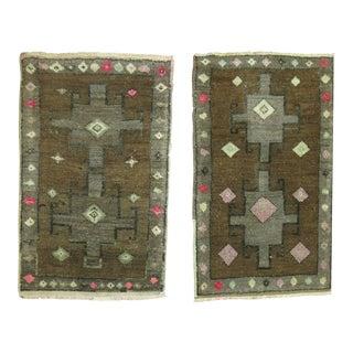 Vintage Brown & Pink Turkish Rugs - 1'7'' x 2'7''