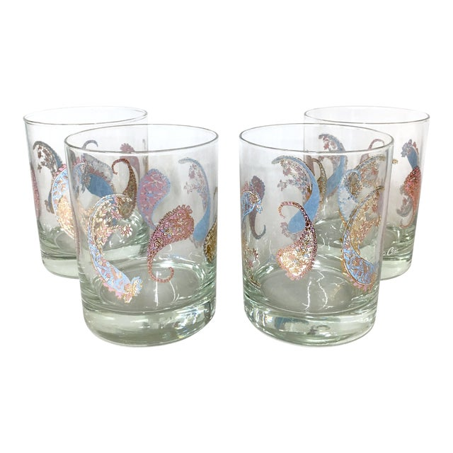 Image of Vintage Cera Pastel Paisley Rocks Glasses - Set of 4